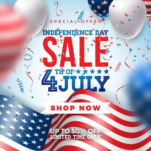 Design Banner di vendita del giorno dell'indipendenza del 4 luglio vettore