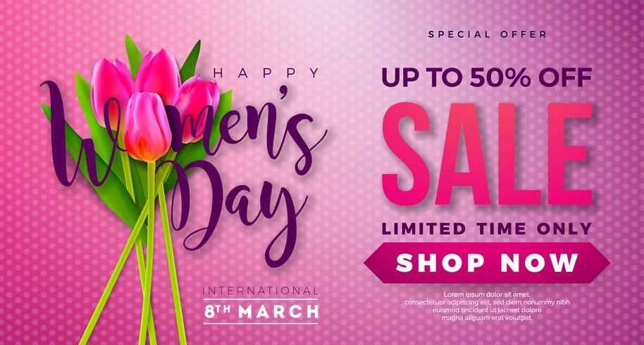 Progettazione di vendita di giorno delle donne con Tulip Flower su Pink Backgrounder vettore