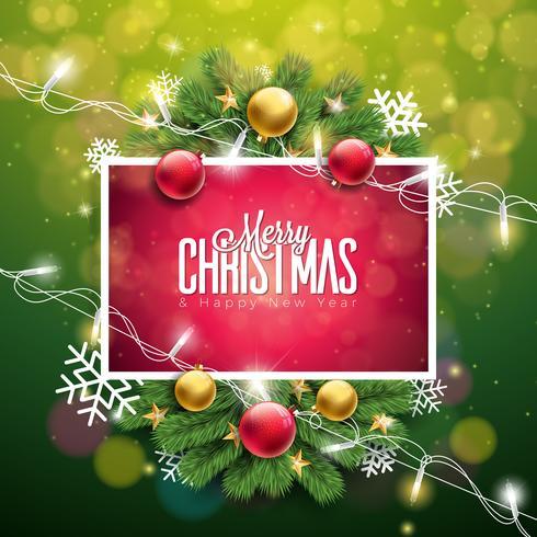 Illustrazione di Natale su sfondo verde vettore