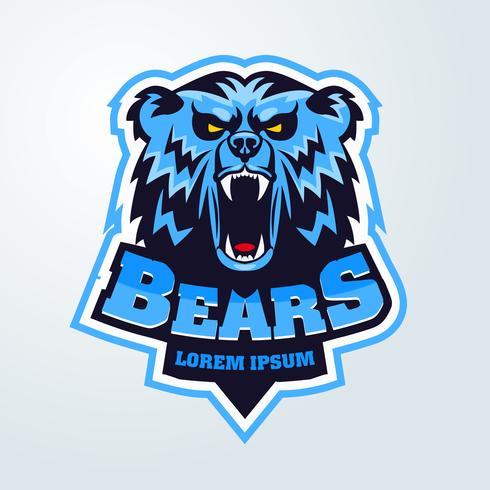 emblema della mascotte logo testa di orso vettore