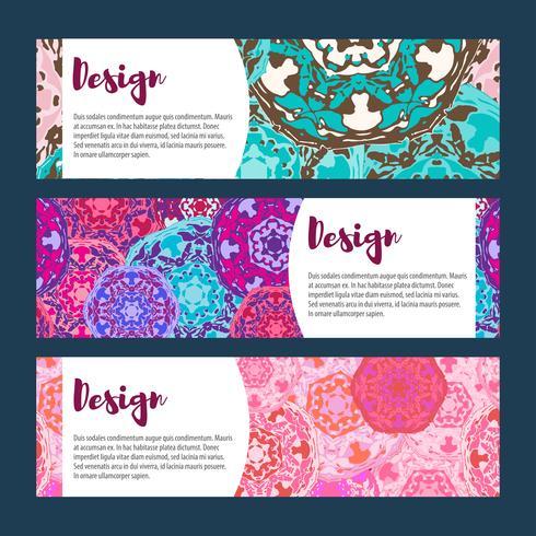 Set di banner di modelli. Modello e ornamenti floreali mandala. vettore
