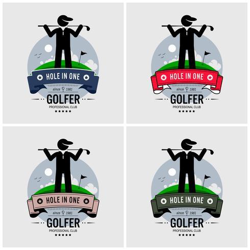 Design logo golfista. vettore