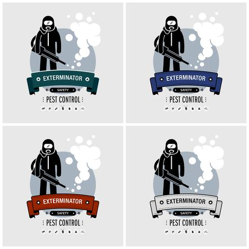 Disegno del logo di sterminatore. vettore