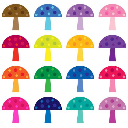 clipart di vettore di funghi colorati