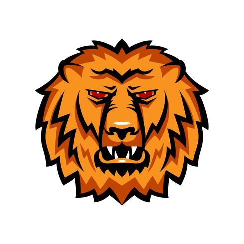 Mascotte il muso di un leone. vettore