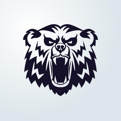 Emblema Mascotte Testa d'orso vettore