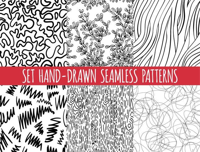 Set di quattro pattern disegnati a mano astratto senza soluzione di continuità, vettore