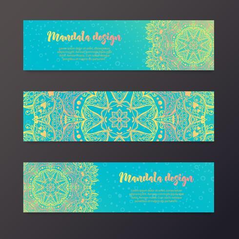 Banner di mandala, in stile indiano. vettore