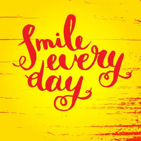 Sorridi ogni giorno. Poster di citazione ispiratrice. vettore