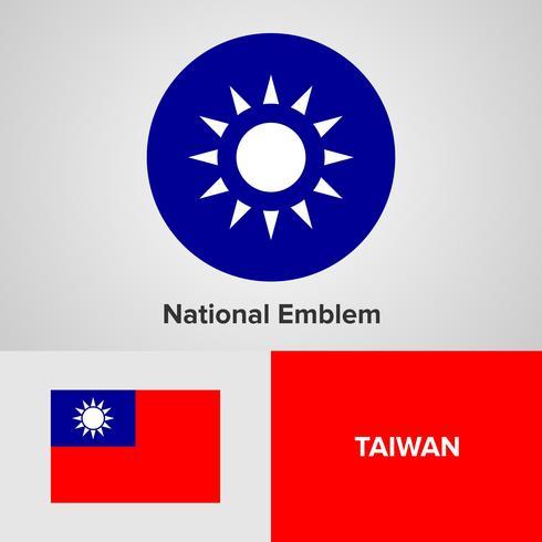 Emblema nazionale di Taiwan, mappa e bandiera vettore