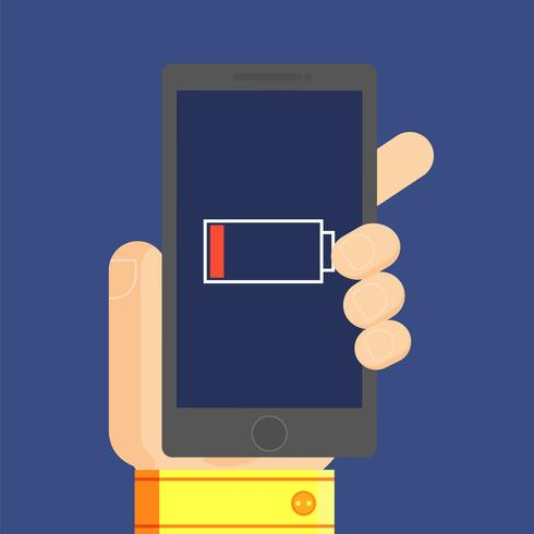 Telefono nella mano dell'uomo, che ha una batteria scarica. Illustrazione piatta vettoriale
