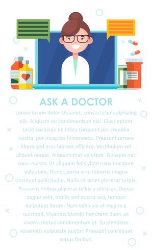 Horisontal il dottore. L'infermiera risponde alle domande sul portatile. Sul tavolo Pillole e farmaci e ricette. Illustrazione piatta vettoriale