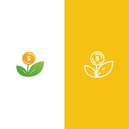 Logo della pianta del denaro. Crescita di investimenti e investimenti. Logotipo del fondo fiduciario. Linea arte vettoriale e illustrazione realistica sfumatura