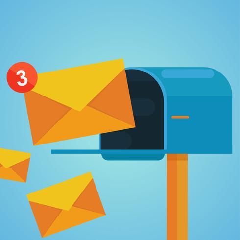 Marketing via email. Cassetta postale e buste circondate da icone di notifica. Illustrazione piatta vettoriale