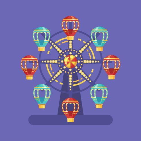 Illustrazione piana di carnevale della luna park. Illustrazione del parco di divertimenti con una ruota panoramica alla notte su fondo blu vettore