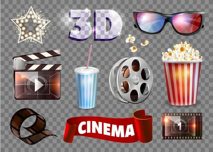 Insieme di oggetti del film. Illustrazione vettoriale