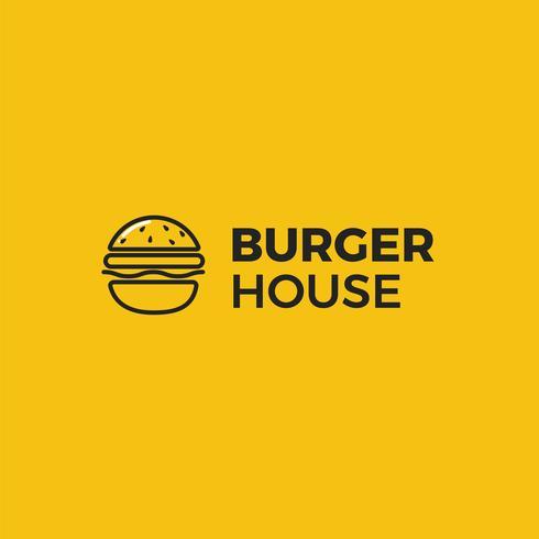 Logo americano classico della casa dell'hamburger. Logotipo per ristorante o bar o fast food. Illustrazione vettoriale