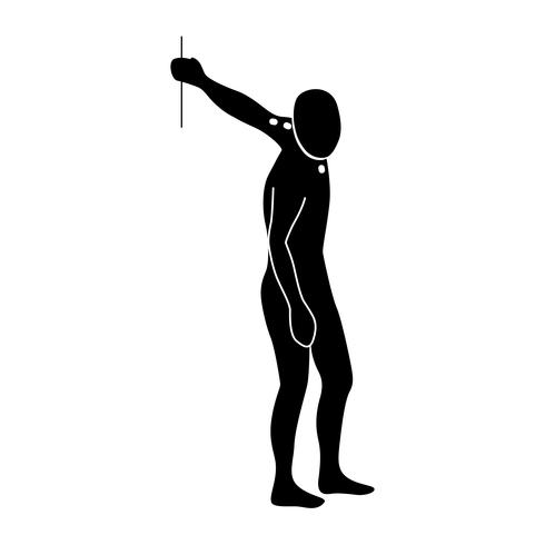 Stretching Exercise Icon per allungare le spalle. vettore