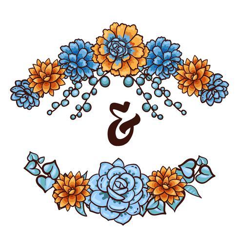 Elemento decorativo floreale di piante grasse vettore