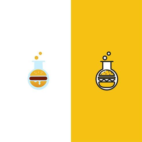Logo di Burger Lab. Laboratorio di cibo delizioso. Logotipo per ristorante o bar. Illustrazione di arte linea vettoriale