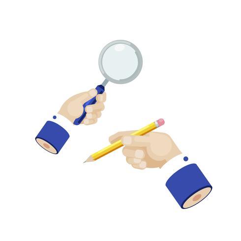 Mano di uomo d'affari con lente di ingrandimento e matita. Ricerca di marketing. Illustrazione piatta vettoriale