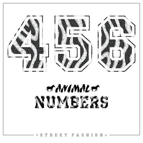 Numeri di mosaico di animali per t-shirt, poster, cartoline e altri usi. vettore
