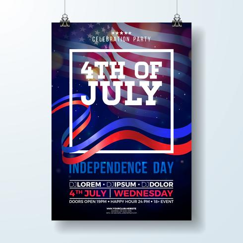 Giorno dell'Indipendenza dell'illustrazione dell'aletta di filatoio del partito di USA vettore
