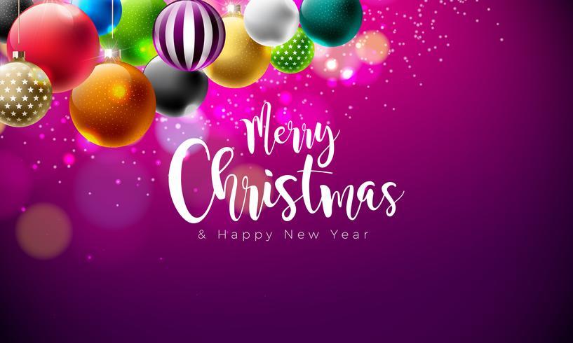 Illustrazione di buon Natale con palline multicolori ornamentali vettore