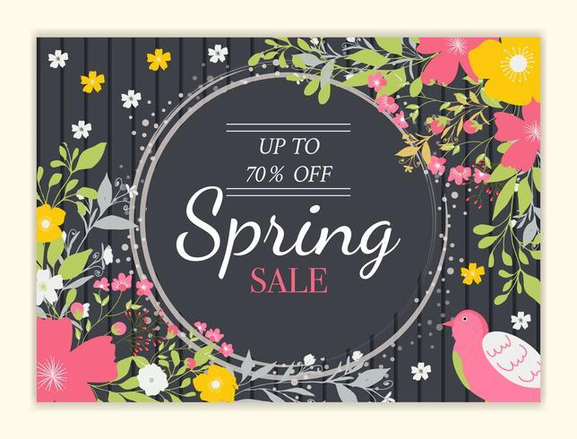 Fondo di vendita di primavera con bel fiore colorato vettore