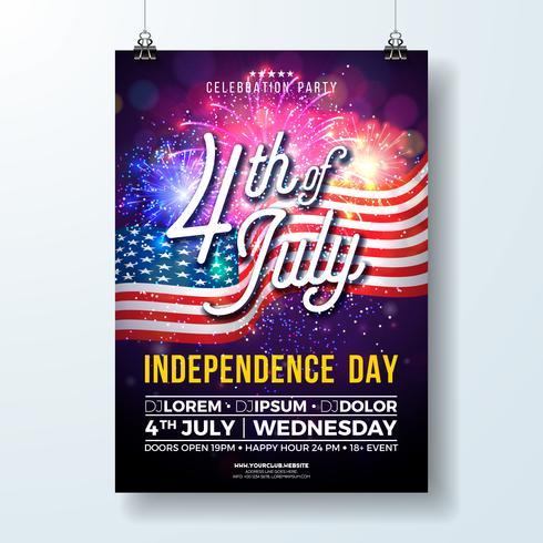 Independence Day degli Stati Uniti Party Flyer illustrazione con bandiera e fuochi d'artificio vettore
