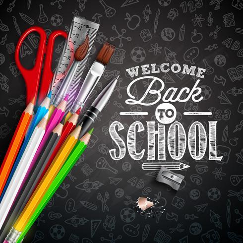 Torna a scuola design con elementi di scuola su sfondo nero lavagna vettore