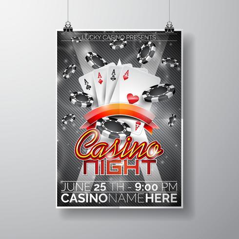 Vector Party Flyer design su un tema di Casino con fiches e carte da gioco