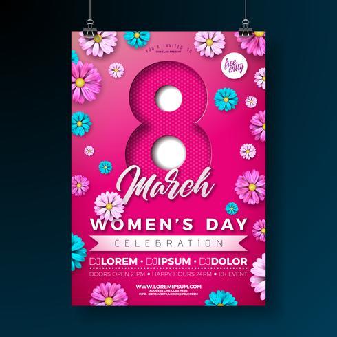 Illustrazione dell'aletta di filatoio del partito del giorno delle donne con i fiori su fondo rosa. vettore