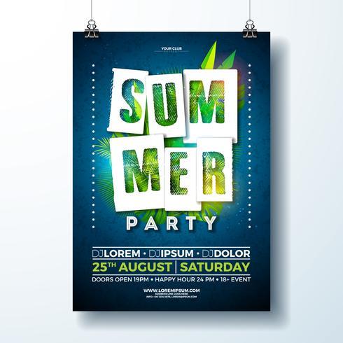Summer Party Flyer Design con foglie e fiori tropicali vettore
