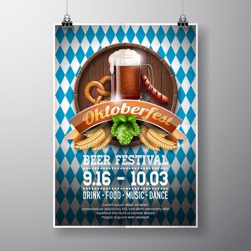 Illustrazione di vettore del manifesto di Oktoberfest con birra scura fresca