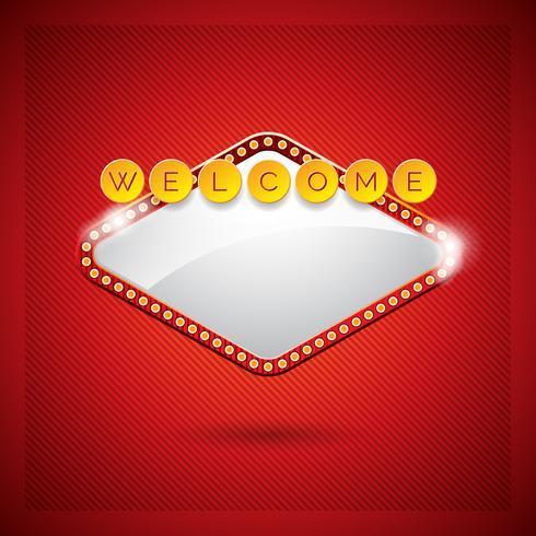 Illustrazione vettoriale su un tema del casinò con display di illuminazione e testo di benvenuto