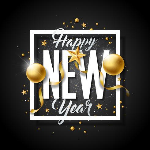 Felice anno nuovo illustrazione con tipografia lettera e palle ornamentali vettore
