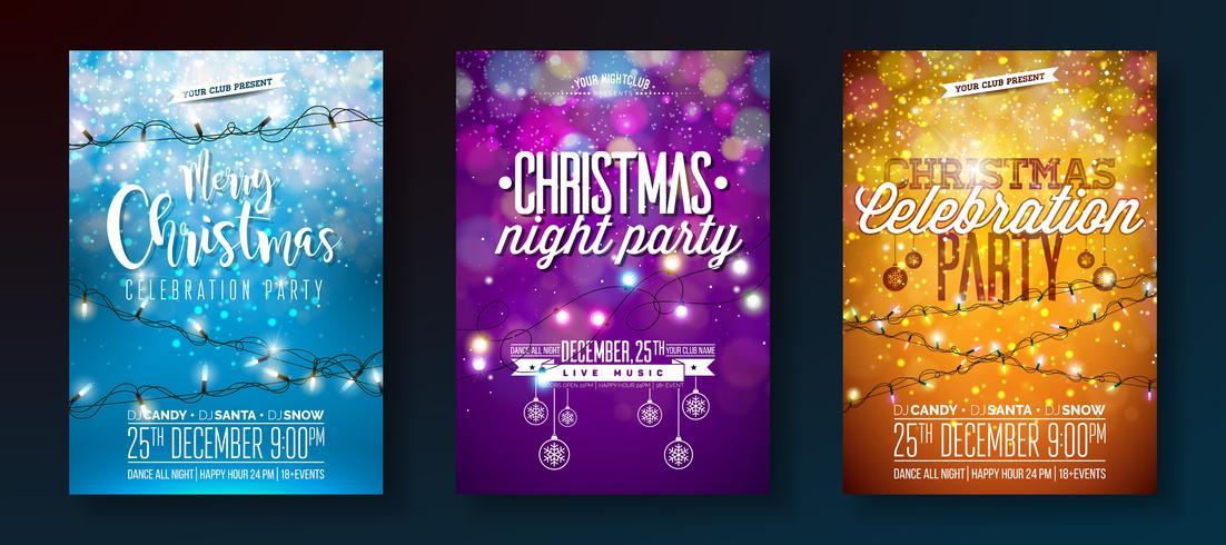Set di volantini Merry Christmas Party con ghirlande di luce vettore