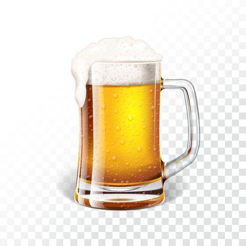 Illustrazione con birra chiara fresca in una tazza di birra su sfondo trasparente vettore