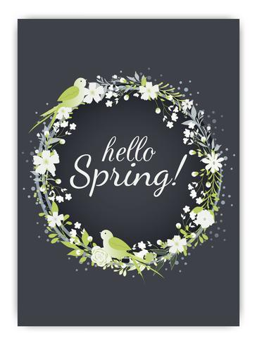 Sfondo di primavera con fiori colorati vettore