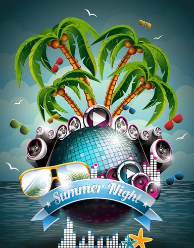 Vector Summer Beach Party Flyer Design con palla da discoteca e altoparlanti