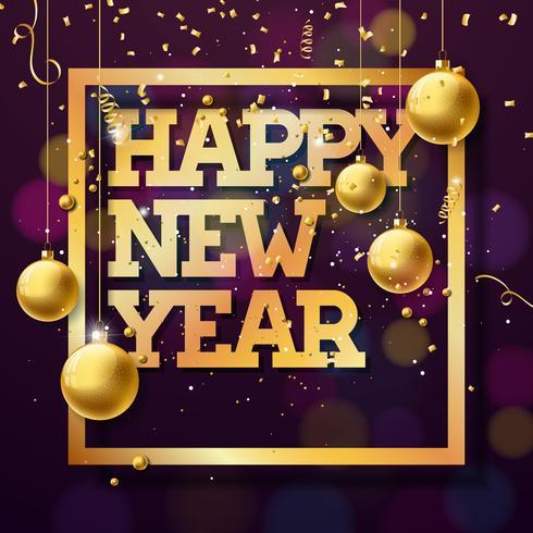 Felice anno nuovo illustrazione con testo oro lucido vettore