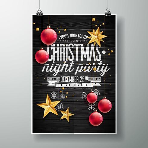 Buon disegno di festa di Natale con stelle d'oro e ornamenti rossi vettore