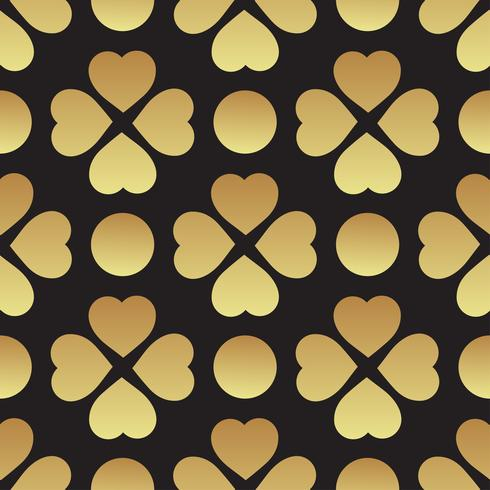 Reticolo senza giunte dell'oro con foglie di trifoglio, il simbolo di St. Patrick Day in Irlanda vettore