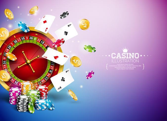 Illustrazione del casinò con la ruota della roulette, monete che cadono e giocare a fiches vettore