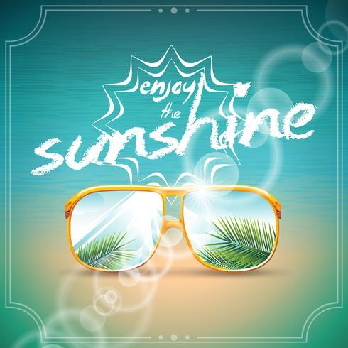 Illustrazione vettoriale su un tema vacanza estiva con occhiali da sole