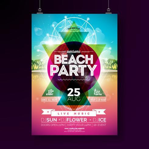 Progettazione di Flyer Party Beach estate vettore