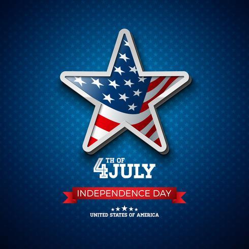 Independence Day degli Stati Uniti Illustrazione con bandiera nella stella vettore