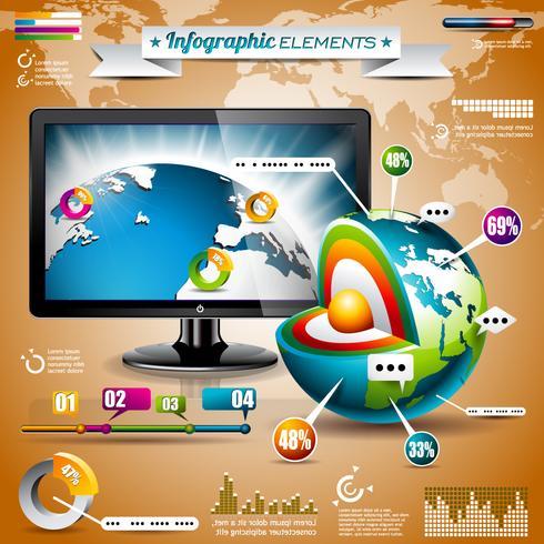 Insieme di progettazione di vettore di elementi infographic. Mappa del mondo e grafica informativa.