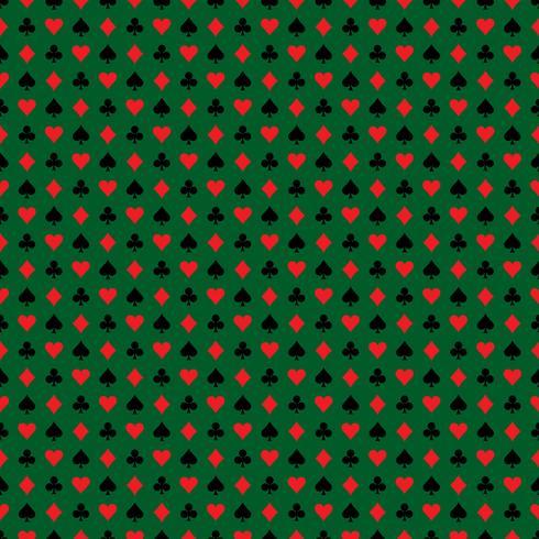 Vector l'illustrazione senza cuciture del modello del casinò con i simboli della carta da gioco